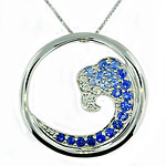 CP2039 Sapphire & Diamond Wave Necklace