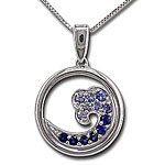 CPS1111 SS/Sapphire Wave Necklace