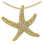 6422 Lg. Gold & Diamond Starfish Necklace