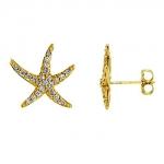 E367 Gold & Diamond Starfish Studs