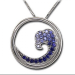 CPS73 SS/Sapphire Wave Necklace