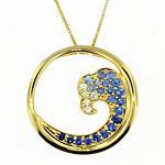 CP2047 Sapphire & Diamond Wave Necklace
