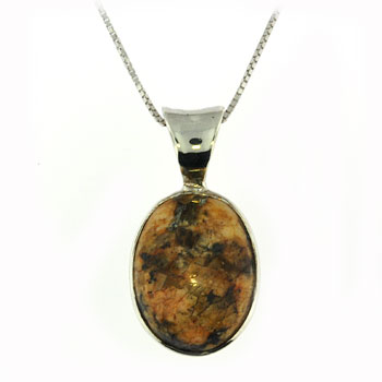 CPS126-br SS Beach Stone Necklace