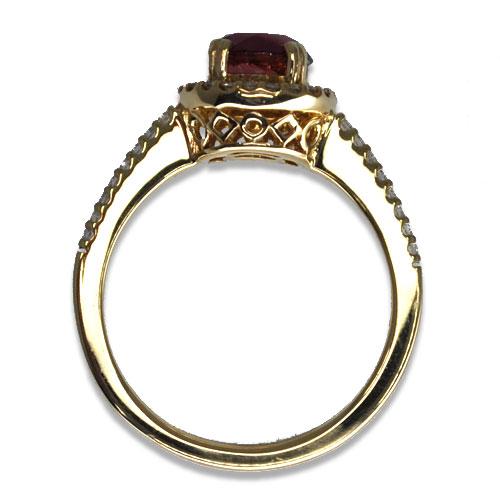 Maine Pink Tourmaline Ring Profile Diamond Halo