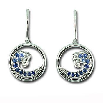 CE2343 Sapphire & Diamond Wave Earrings