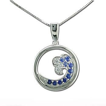 CP2162 Sapphire & Diamond Wave Necklace
