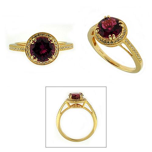 CR2676 Pink Tourmaline & Diamond Ring