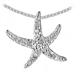 6422-2 Sm. Gold & Diamond Starfish Necklace