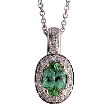 CP2401 Mint Tourmaline/Diamond Necklace