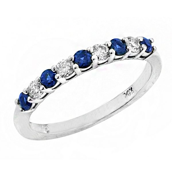 1674BS Blue Sapphire and Diamond Band