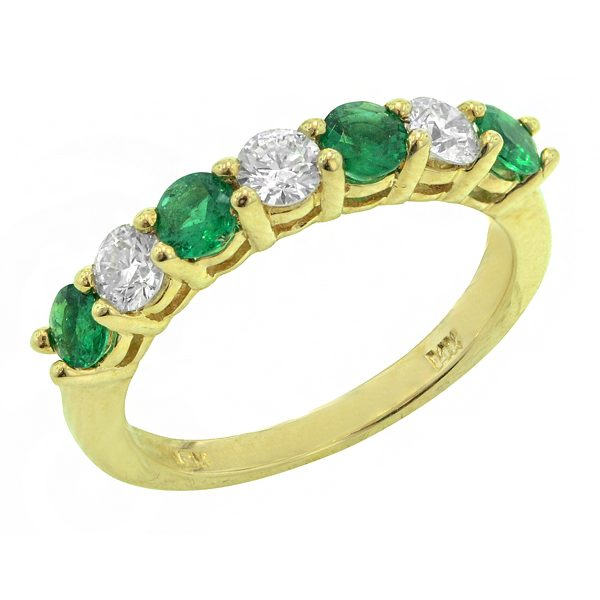 1655BE Emerald and Diamond Band