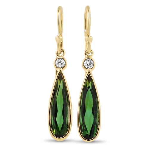 Green Tourmaline Diamond Dangle Earrings
