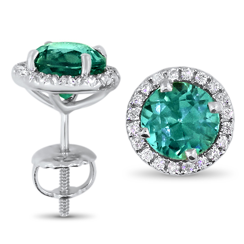 Blue Tourmaline Diamond Halo Studs