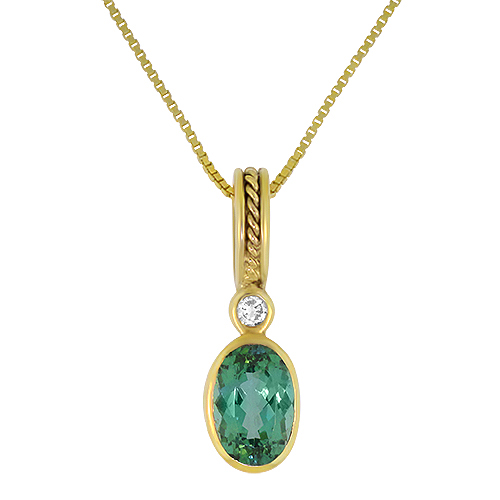 Mint Tourmaline and Diamond Necklace