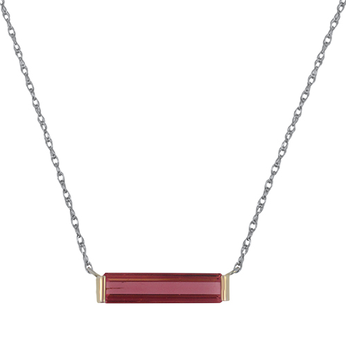 Pink Tourmaline Bar Necklace