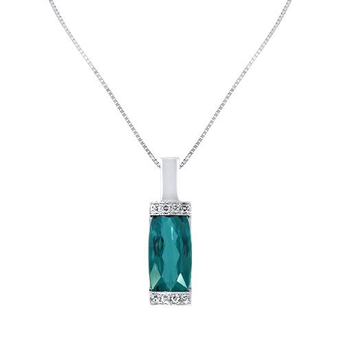 Blue Tourmaline Diamond Pendant