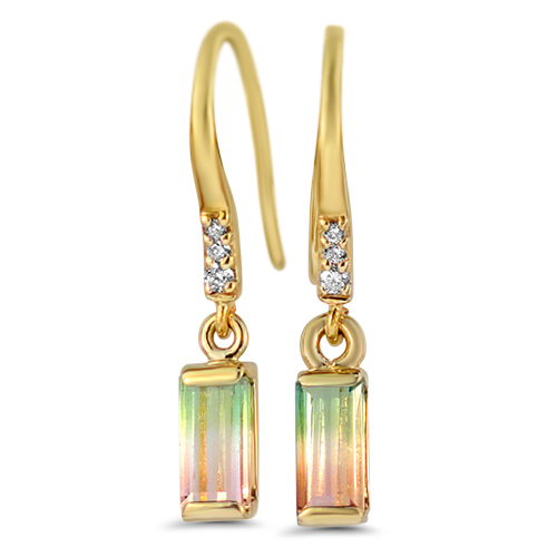 Maine Watermelon Tourmaline Dangle Earrings