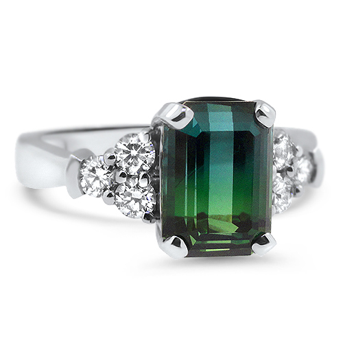 6adf53155adf6 CR3358 Three Dories Blue to Green Tourmaline Ring with Diamonds in 14KW