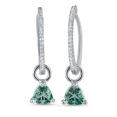 Mint Tourmaline Diamond Hoop Earrings