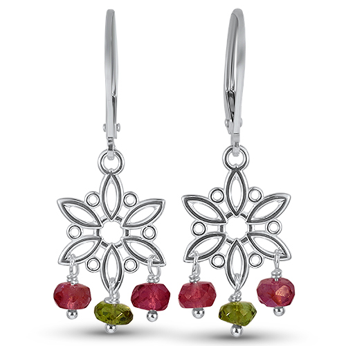 Silver Bead Tourmaline Earrings