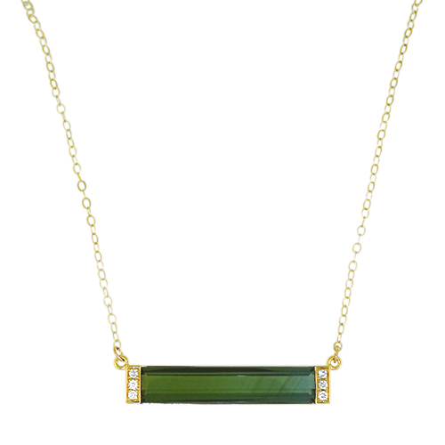 Blue to Green Bar Necklace with Diamonds