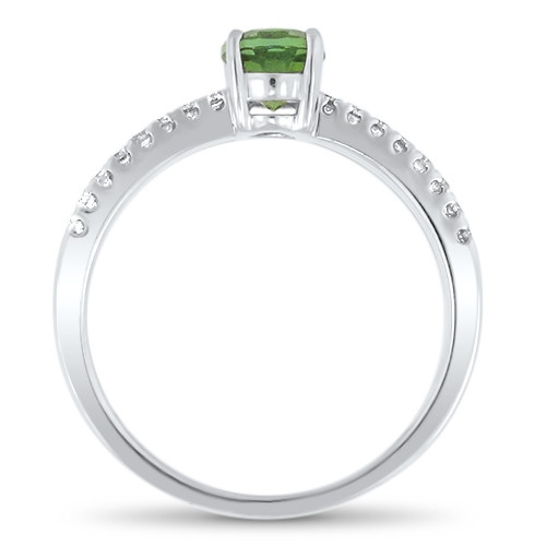 Green Maine Tourmaline and Diamond Ring