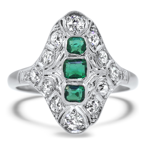 Emerald and Diamond Estate Ring
