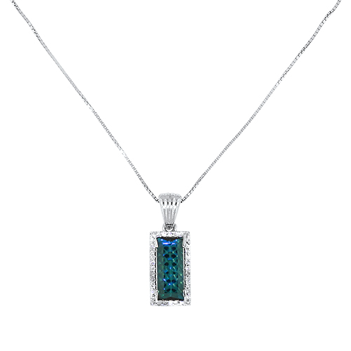 Blue Maine Tourmaline and Diamond Necklace