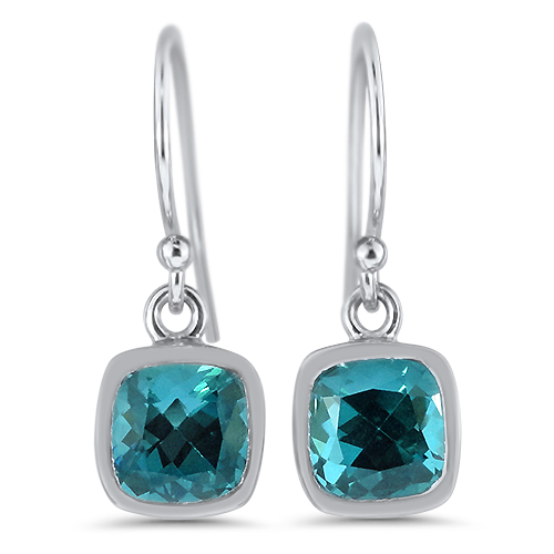 Blue Tourmaline Dangle White Gold