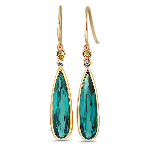 Blue Tourmaline Dangle Earrings