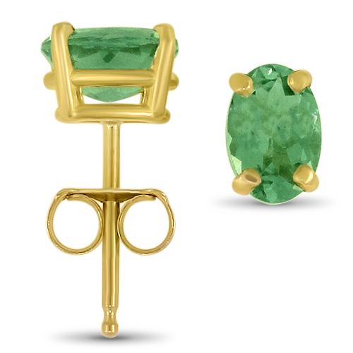 Green Tourmaline Studs Yellow Gold