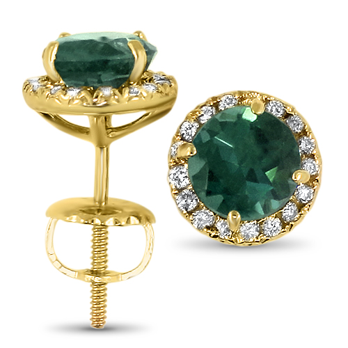 Blue Green Tourmaline Halo Studs