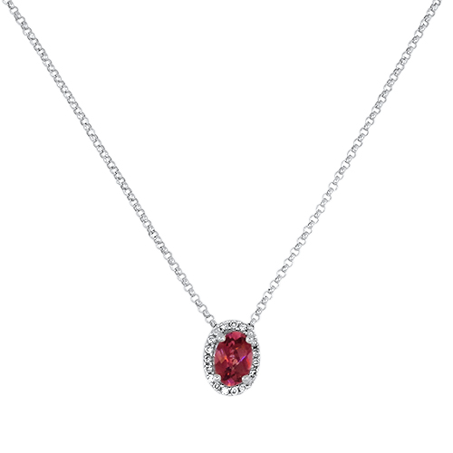 Pink Tourmaline Diamond Halo Pendant