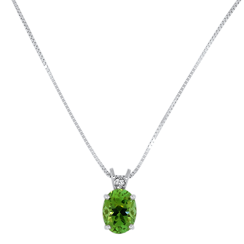 Green Maine Tourmaline Pendant with Diamond