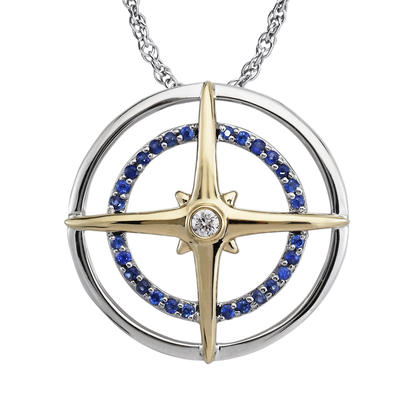 Two Tone Sapphire Compass
