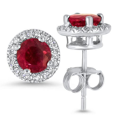 White Gold Tourmaline Diamond Studs Red