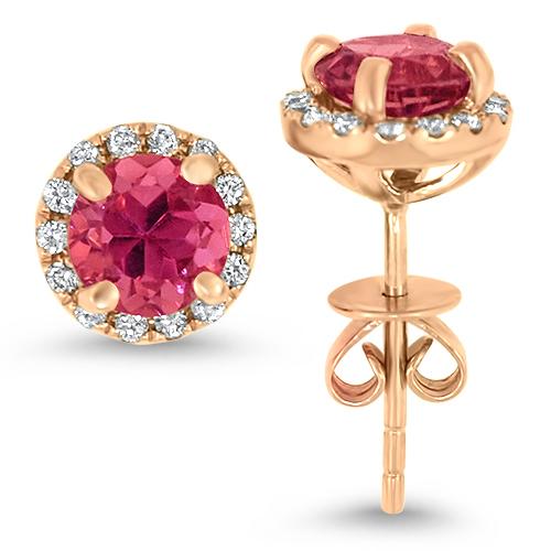 Rose Gold Diamond Halo Pink Tourmaline Studs