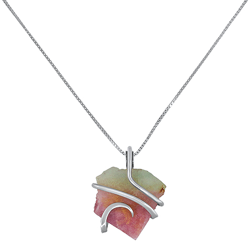 Maine Watermelon Tourmaline Wrap Pendant Silver