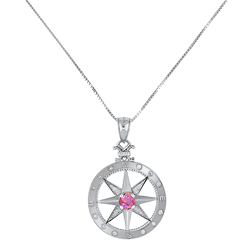 Pink Maine Tourmaline Compass Silver Pendant