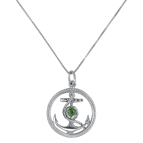 Green Tourmaline Anchor Pendant