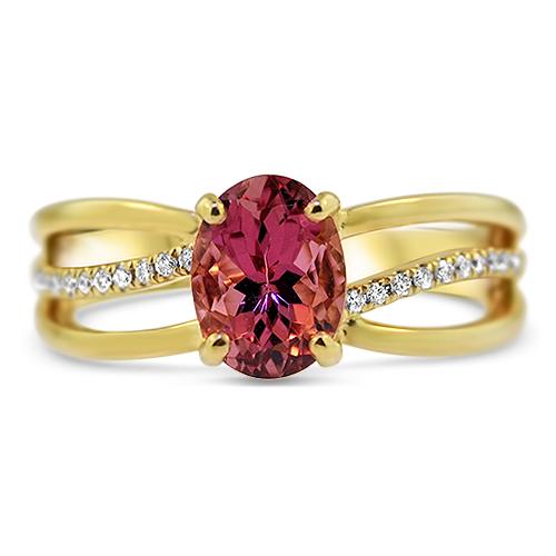 Pink Tourmaline Ring Yellow Gold