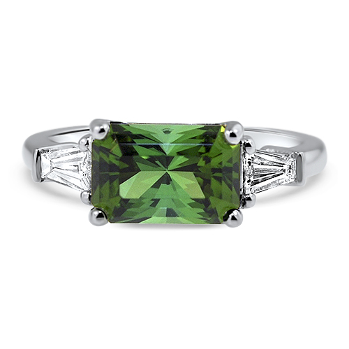 Maine Green Tourmaline Ring White Gold