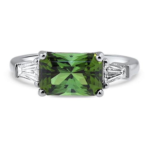 Maine Green Tourmaline Ring White Gold