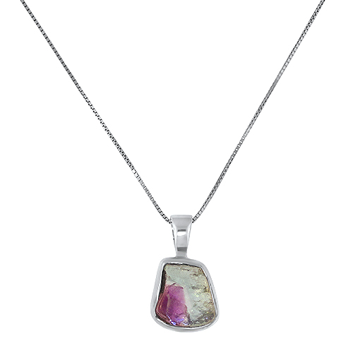 Maine Watermelon Tourmaline Silver Necklace