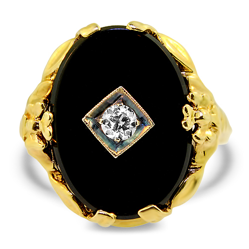 Onyx and Diamond Estate Ring Profile