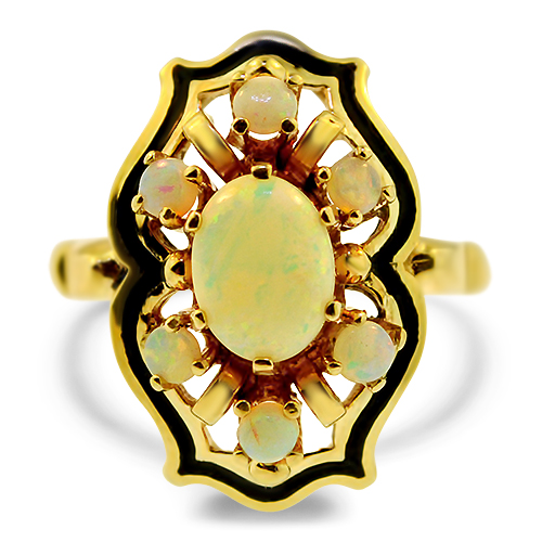 Opal and Enamel Estate Ring