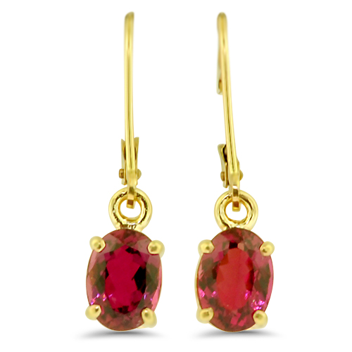 Rubelite Tourmaline Dangle Earrings