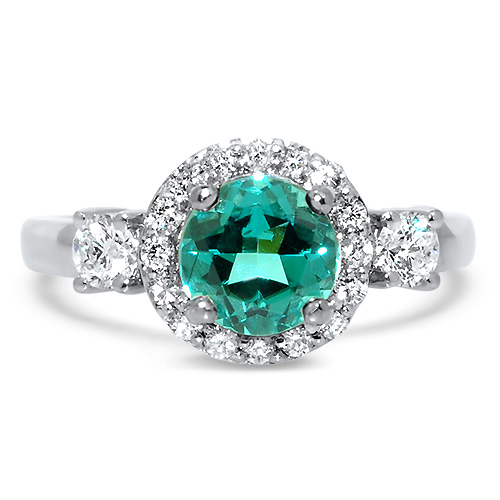 Blue Tourmaline with Diamond Halo Ring White Gold