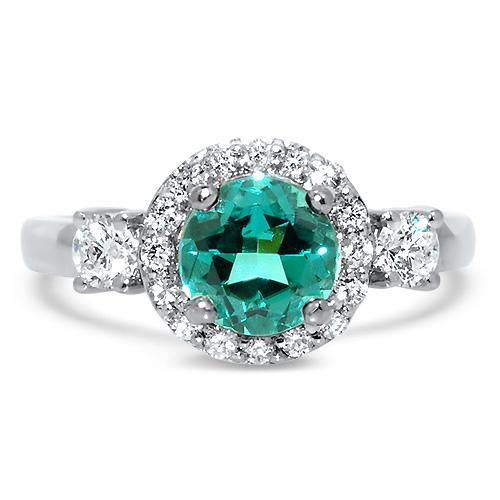 Blue Tourmaline with Diamond Halo Ring White Gold