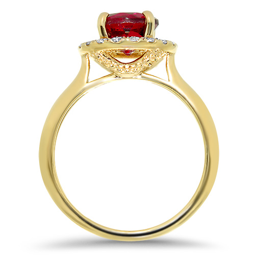 Red Tourmaline Ring with Diamond Halo Profile
